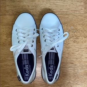 White leather and canvas Keds